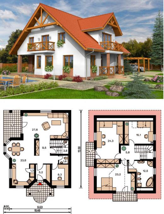 Купить проект дачного дома из бруса 6,5х5 - фото